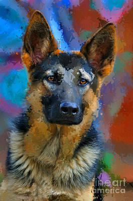 Alsatian Puppy Original by Morris Keyonzo