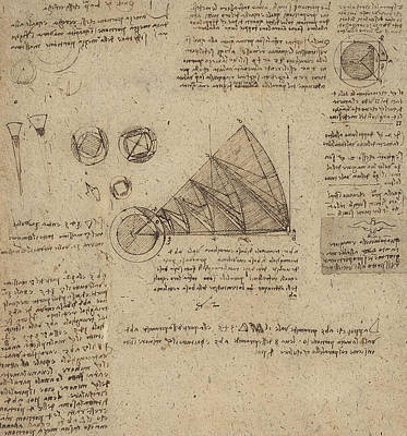 Da Vinci Reproductions Drawing - Alteration Of Annulus Without Changing Its Quantity Below Right Study Of Bird Flight From Atlantic by Leonardo Da Vinci