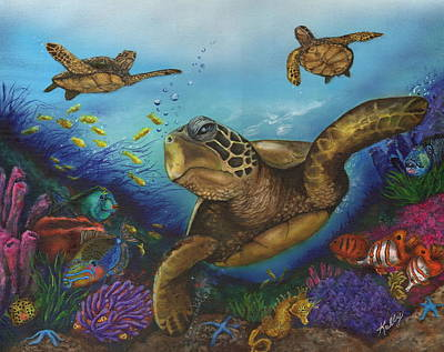 Sea Turtles Painting - Alternate Universe by Kathleen Kelly Thompson
