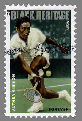 Althea Gibson Postage Stamp Print by Phil Cardamone