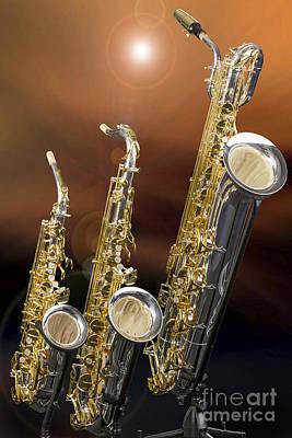 Music Digital Art - Alto Tenor Baritone Saxophone Photo In Color 3461.02 by M K  Miller