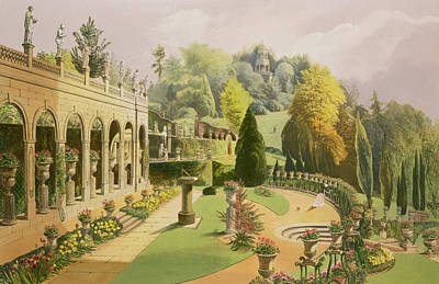 Statues Drawing - Alton Gardens by E Adveno Brooke