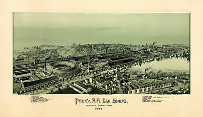 Pennsylvania Drawing - Altoona Pennsylvania 1895 by Mountain Dreams