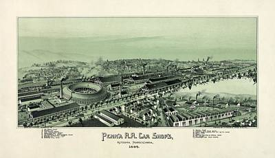 Pennsylvania Drawing - Altoona Pennsylvania In 1895 by Celestial Images