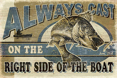 Walleye Painting - Always Cast Sign by JQ Licensing