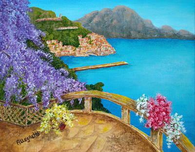 Italian Landscape Mixed Media - Amalfi Coast by Pamela Allegretto