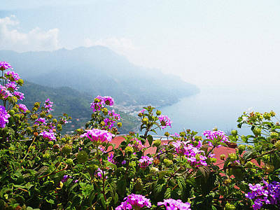 Vintage Style Photograph - Amalfi Coast View From Ravello Italy  by Irina Sztukowski