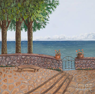 Stonewall Painting - Amalfi Terrace Over Looking The Sea by Stevie Stefano
