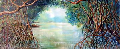Mangrove Forest Painting - Amanece En El Sendero Del Perezozo by Ricardo Sanchez Beitia