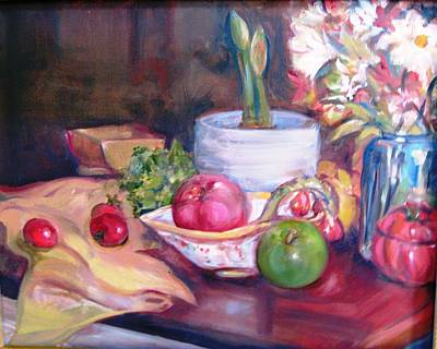 Still Life With Green Apples Painting - Amaryllis by Dorothy Siclare