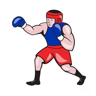 Jab Digital Art - Amateur Boxer Boxing Cartoon by Aloysius Patrimonio