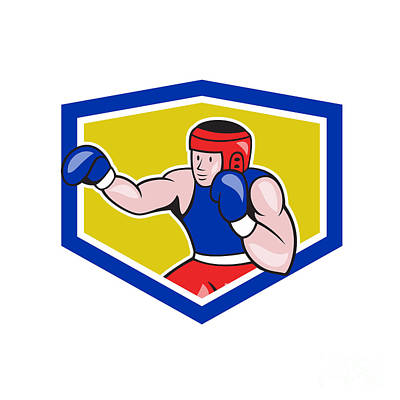 Jab Digital Art - Amateur Boxer Boxing Shield Cartoon by Aloysius Patrimonio