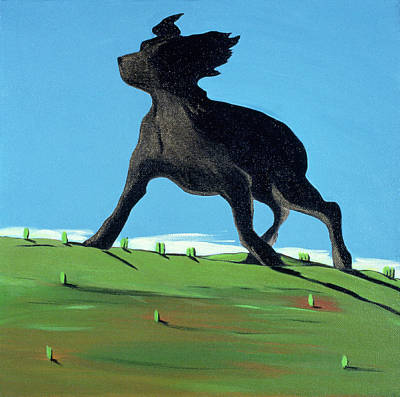 Amazing Black Dog, 2000 Print by Marjorie Weiss