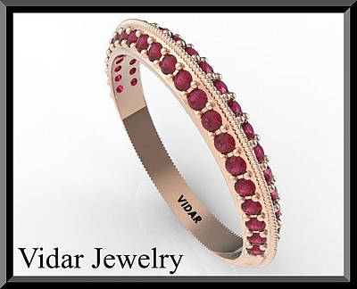 Vidar Jewelry Jewelry - Amazing Eternity Red Ruby 14k Rose Gold Woman Wedding Ring by Roi Avidar
