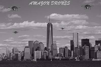 Empire State Building Mixed Media - Amazon Drones In New York City by Dan Sproul
