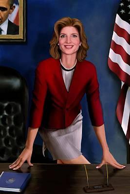 Patriotism Painting - Ambassador Kennedy At Her Desk by Jann Paxton