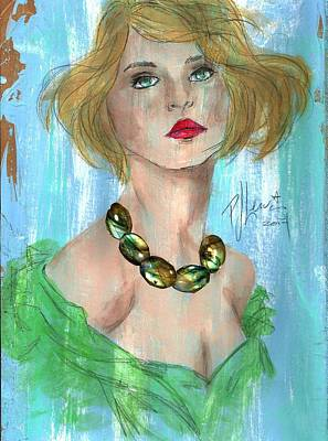 Amber Necklace Print by P J Lewis