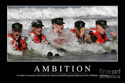 Navy Seals Photograph - Ambition Inspirational Quote by Stocktrek Images