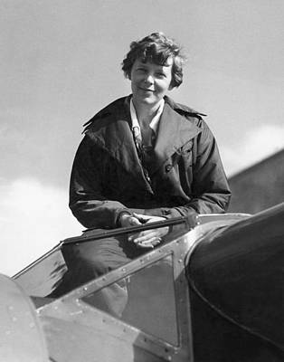 Old Time Photograph - Amelia Earhart In Cockpit by Underwood Archives