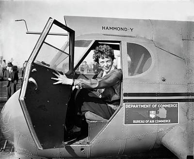 Amelia Earhart Print by Library Of Congress