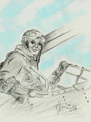 Aviator Drawing - Amelia's Ghost by P J Lewis