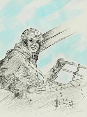 Aviators Drawing - Amelia's Ghost by P J Lewis