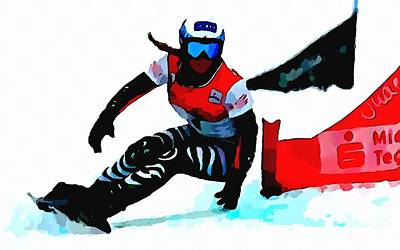 Snowboarder Painting - Amelie Kober Snowboarding by Lanjee Chee