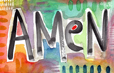 Spirit Mixed Media - Amen- Colorful Word Art Painting by Linda Woods