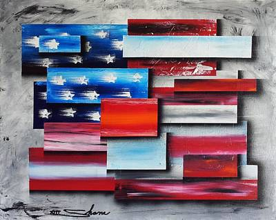 Abstract American Flag Painting - America - United Together I by Shane Miller
