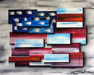 Abstract American Flag Painting - America - United Together II by Shane Miller