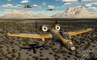 American A-10 Thunderbolts Flying Print by Mark Stevenson