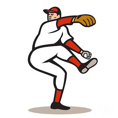American Baseball Pitcher Throwing Ball Cartoon Print by Aloysius Patrimonio
