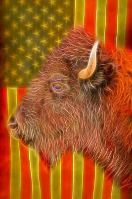 Buffalo Photograph - American Bison Headshot Flag Glow by James BO  Insogna