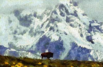 American Bison In The Tetons  Print by Dan Sproul