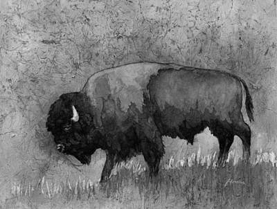 Bison Painting - Monochrome American Buffalo 3  by Hailey E Herrera