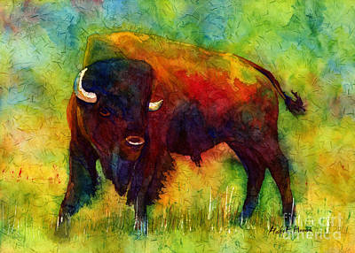 Abstract Wildlife Painting - American Buffalo by Hailey E Herrera