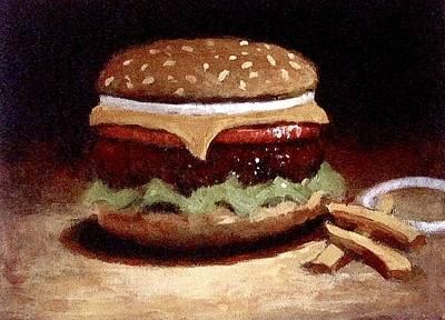 Cheeseburger Painting - American Cheeseburger by William McLane