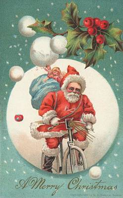 Santa Claus Painting - American Christmas Card With A Cycling Father Christmas With His Sack Of Gifts by American School