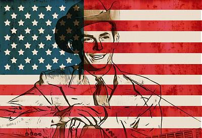 American Country Singer Hank Williams Print by Dan Sproul