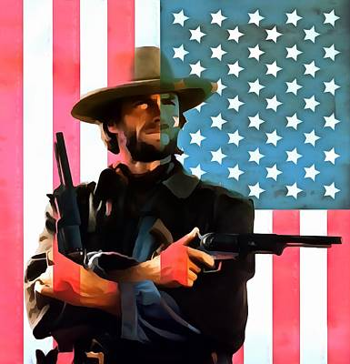 Red White And Blue Mixed Media - American Cowboy Clint Eastwood by Dan Sproul