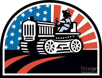 American Farmer Riding Vintage Tractor Print by Aloysius Patrimonio