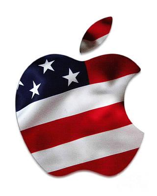 Flag Mixed Media - American Flag Apple by Marvin Blaine