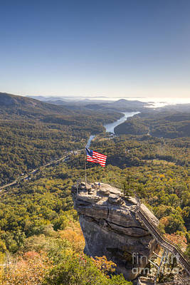 American Flag At Chimney Rock State Park North Carolina Print by Dustin K Ryan