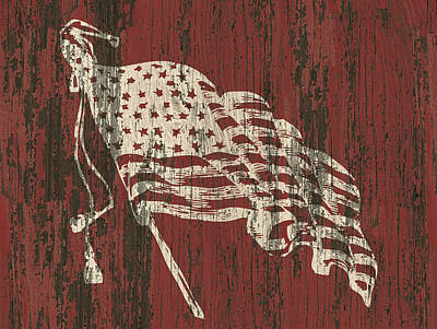 4th July Digital Art - American Flag Barn by Flo Karp