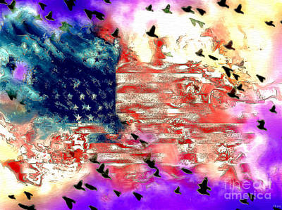 Abstract American Flag Painting - American Flag by Daniel Janda