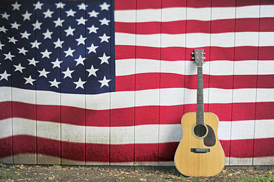 Classic Audio Player Photograph - American Flag Guitar by Terry DeLuco