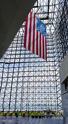 American Flag In Kennedy Library Print by Thomas Marchessault