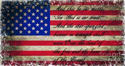 4th July Digital Art - American Flag Tribute by Miryam  UrZa