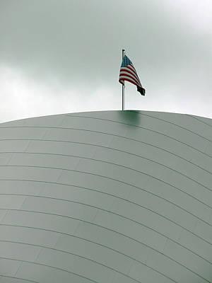 American Flag On Modern Museum In La Print by Mieczyslaw Rudek Mietko