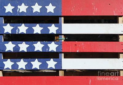 Wood Pallet Flag Photograph - American Flag On Pallet by Steven Parker